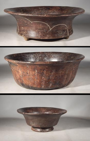 Ancient Mexico Teotihuacan Brownware Pottery Bowls Vessels