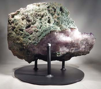 Amythest Crystal Geode Cluster Custom Display Stand (back).