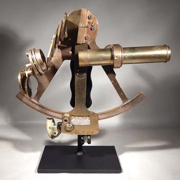 Antique Brass Sextant Custom Display Stand (front).