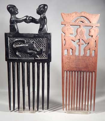 Tribal African Carved Wooden Commemorative Combs