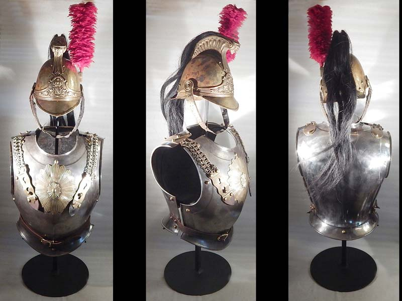 French Armor Cuirasses and Helmet Napoleonic era Custom Display Stand.