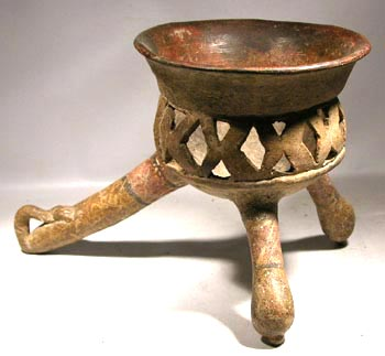 Aztec Censor (incensario) Tripod Vessel