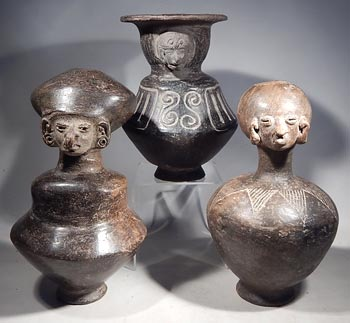 Bahia Blackware Figural Bottle Vessels