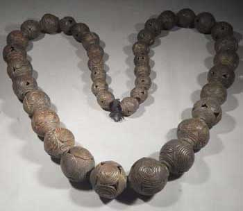 African Baule Bronze Necklace Beads Ivory Coast