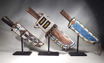 Native American Beaded knife Sheathes Custom Display Stands.