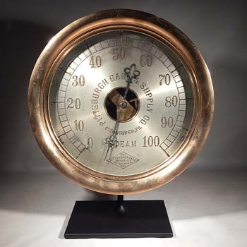 Antique Brass Steam Pressure Gauge Custom Display Stand (back).