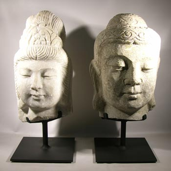 Stone Buddha Head Carvings Custom Display Stands - Front