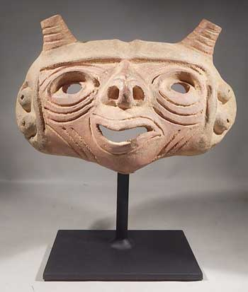Ancient Pre-Columbian Calima Pottery Mask Custom Display Stand (front).