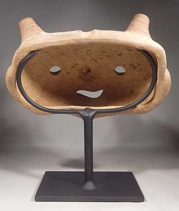 Ancient Pre-Columbian Calima Pottery Mask Custom Display Stand (back).