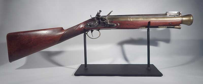 Antique Blunderbuss Musket by Thomas Cartmell of Doncaster, UK Custom Display Stand.