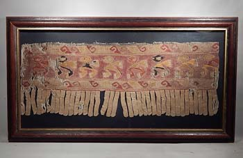 Ancient Peru Chancay Woven Fabric Panel Fringe Textile Birds