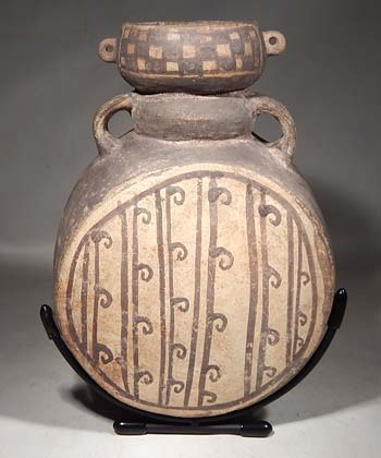 Pre-Columbian Peru Chancay Barrel Canteen Vessel