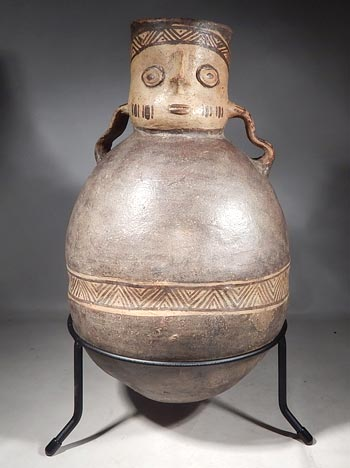 Ancient Peruvian Chancay Figural Urn Vessel