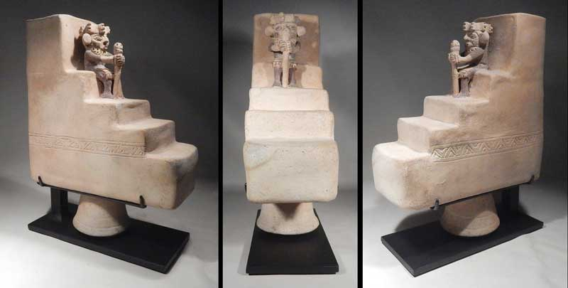 Pre-Columbian Peru Chancay Pyramid Vessel with Seated Lord Custom Display Stand