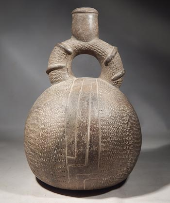 Ancient Peruvian Chavin Brownware Stirrup Vessel