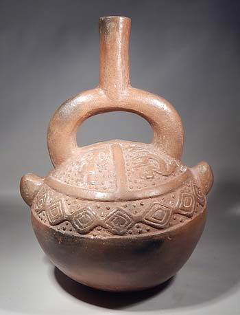 Chimu Peru Carved Stirrup Vessel
