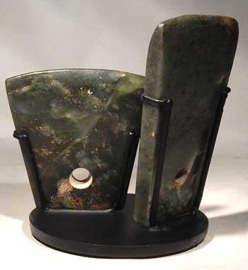 Ancient Chinese Neolithic Jade Ritual Axes Custom Display Stand  (back)