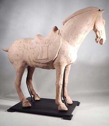 Ancient Tang Dynasty Pottery Horse Custom Display Stand.