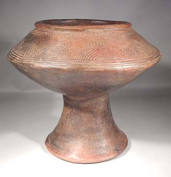 Pre-Columbian Costa Rican Diquis Pottery Chalice Pedestal Bowl Vessel
