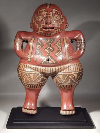 Ancient Chupicuaro Polychrome Figure Custom Display Stand (front).