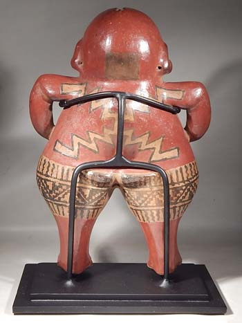 Ancient Chupicuaro Polychrome Figure Custom Display Stand (back).
