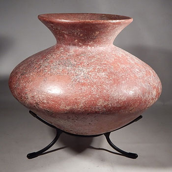 Colima Redware Olla Vessel on Custom Display Stand