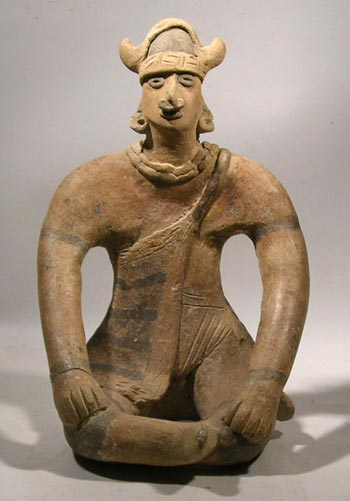 Colima Pottery Seated Shaman Figure