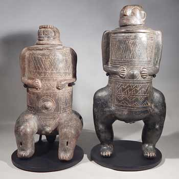 Ancient Pre-Columbian Costa Rican Articulated Figures Custom Display Stands (front).