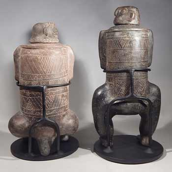 Ancient Pre_Columbian Costa Rican Articulated Figures Custom Display Stands (back).