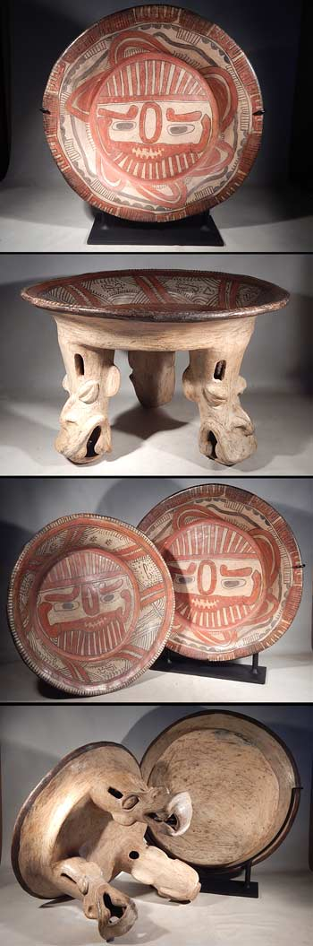 Costa Rican Tlaloc Monumental Tripod Plate Polychrome Pottery Vessel