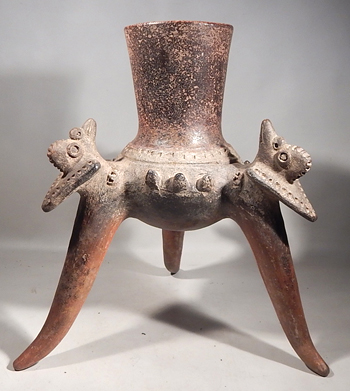 Pre-Columbian Costa Rican Tripod Birds Pottery Vessel
