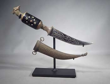 Antique Middle-Eastern Blade Dagger with Sheath Custom Display Stand (right).