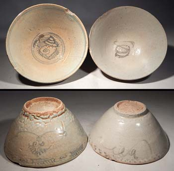 Late Yuan Dynasty Early Ming Dynasty Painted Glazed Bowls
