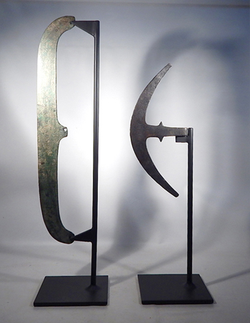 Ancient Egyptian Bronze Axe Heads (Blades) Custom Display Stands. (front)