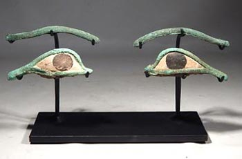 Ancient Egyptian Bronze and Stone Eyes and Brows Inlays Custom Display Stand. (Set 1)
