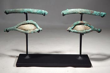 Ancient Egyptian Bronze and Stone Eyes and Brows Inlays Custom Display Stand. (Set 2)