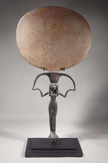 Ancient Egyptian Bronze Mirror Custom Display Stand (front).