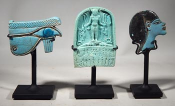 Ancient Egyptian Faience Artifacts - Custom Display Stands. (front)