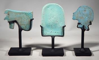Ancient Egyptian Faience Artifacts - Custom Display Stands. (back)