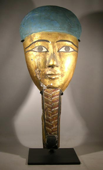 Egyptian Mummy Mask, Ptolemaic Dynasty, Custom Display Stand (front)