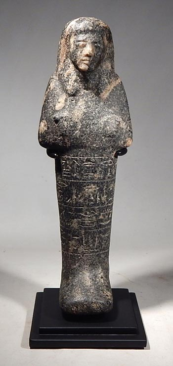 Ancient Egyptian stone (black granite) ushabti, 19th Dynasty Custom Display Stand. (front)