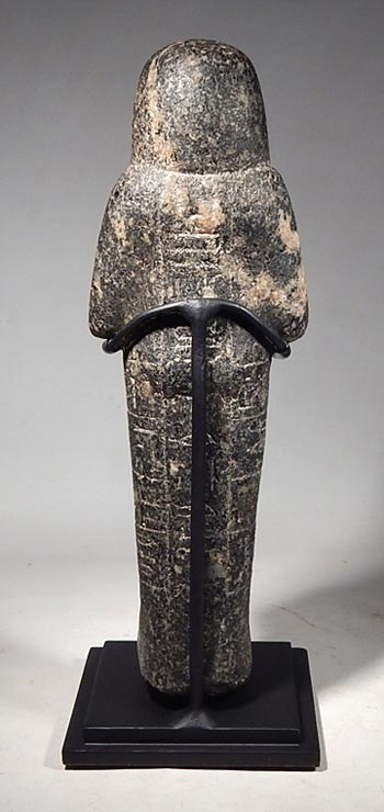 Ancient Egyptian stone (black granite) ushabti, 19th Dynasty Custom Display Stand. (back)
