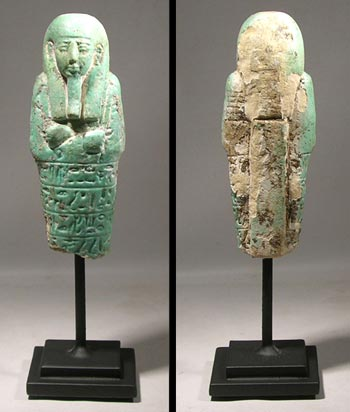 Turquoise Faience Egyptian Ushabti Figure Fragment