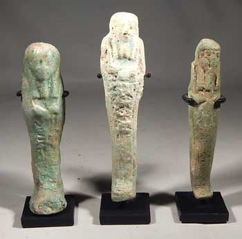 Egyptian Faience Ushabti Trio