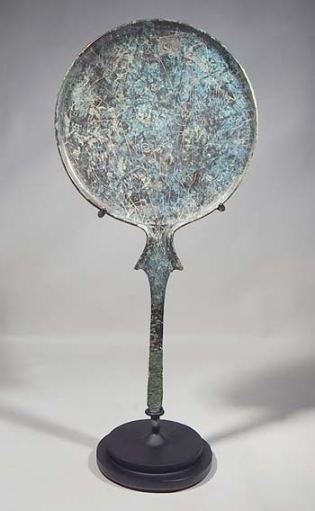 Ancient Etruscan Bronze Mirror Custom Display Stand (front).