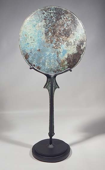 Ancient Etruscan Bronze Mirror Custom Display Stand (back).