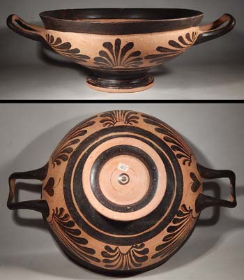Greek Attic Pottery Kylix Vessel