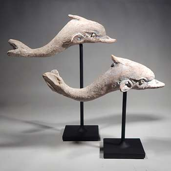 Greek Canosan Pottery Dolphins Custom Display Stand (front).
