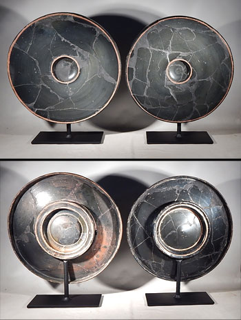 Large Greek Attic Blackware Fish Plates