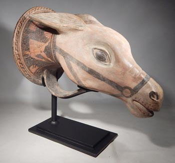 Ancient Greek Horse Head Rhyton Custom Display Stand. (Side 1)
